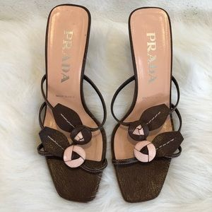 Prada slide heeled sandal brown pink flowers